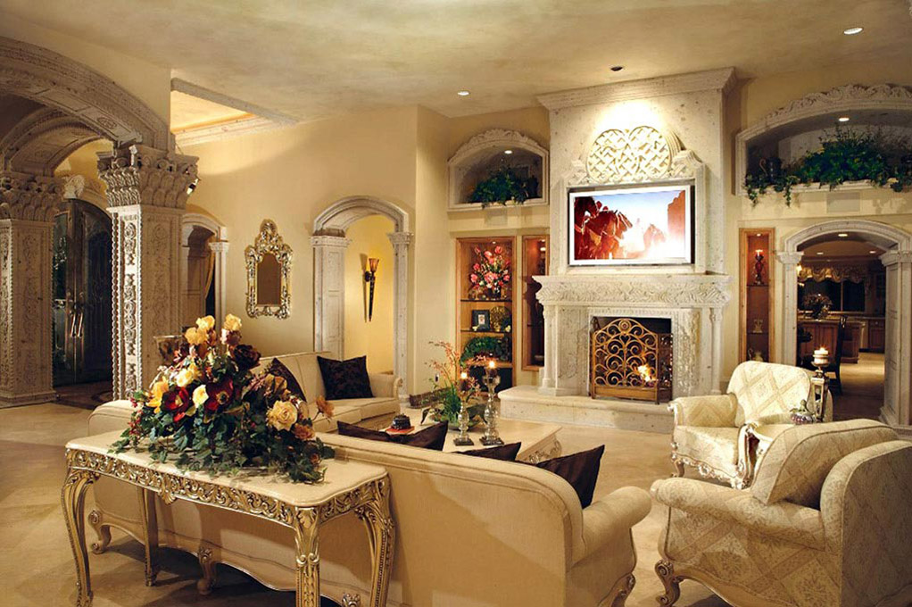 This Exquisite Fireplace Masterpiece Is Hand Carved In Natural Cantera Stone To The Left You