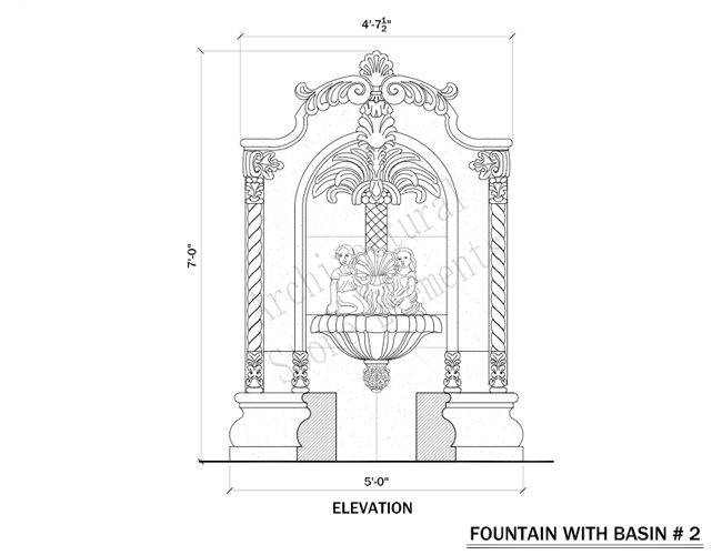 Stone Wall Elevation Drawing : Wall fountains portfolio architectural stone elements